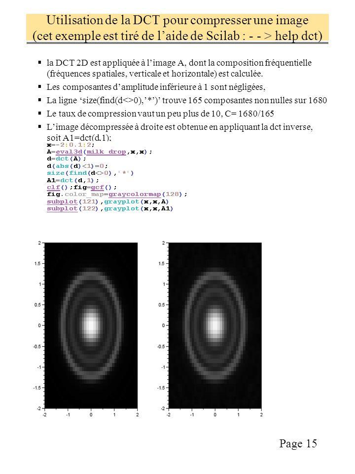 Utilisation de la DCT pour compresser une image (cet exemple est tiré de l'aide de Scilab : - - > help dct)