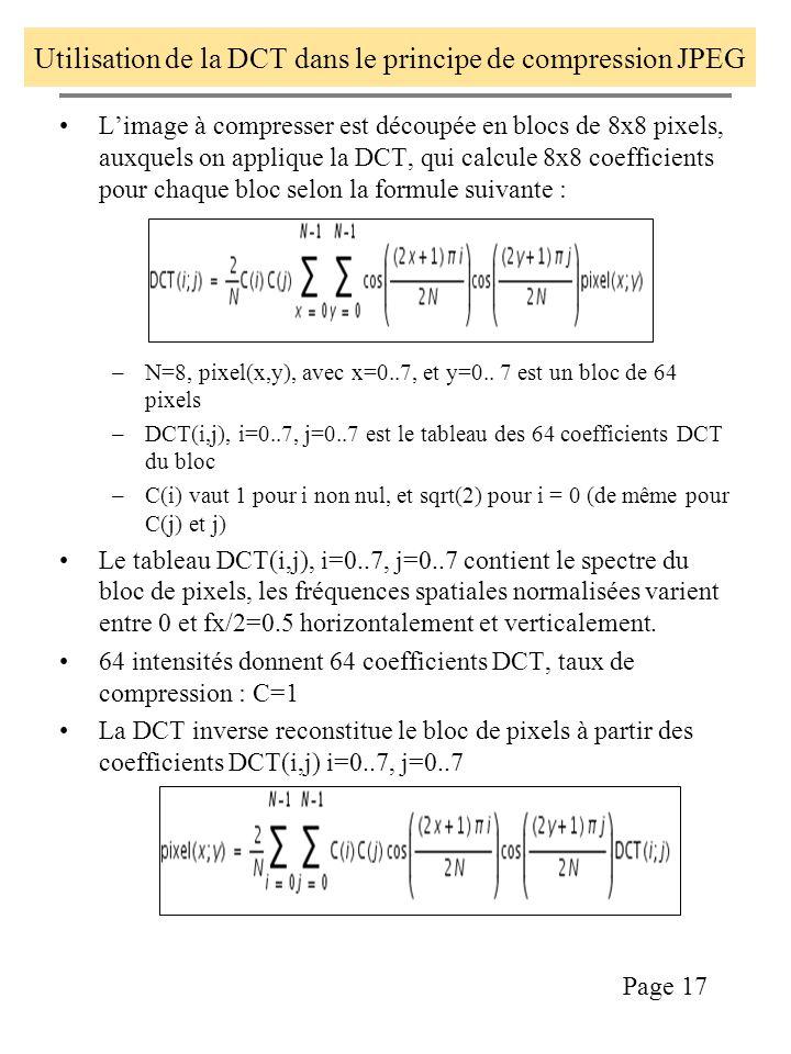 Utilisation de la DCT dans le principe de compression JPEG