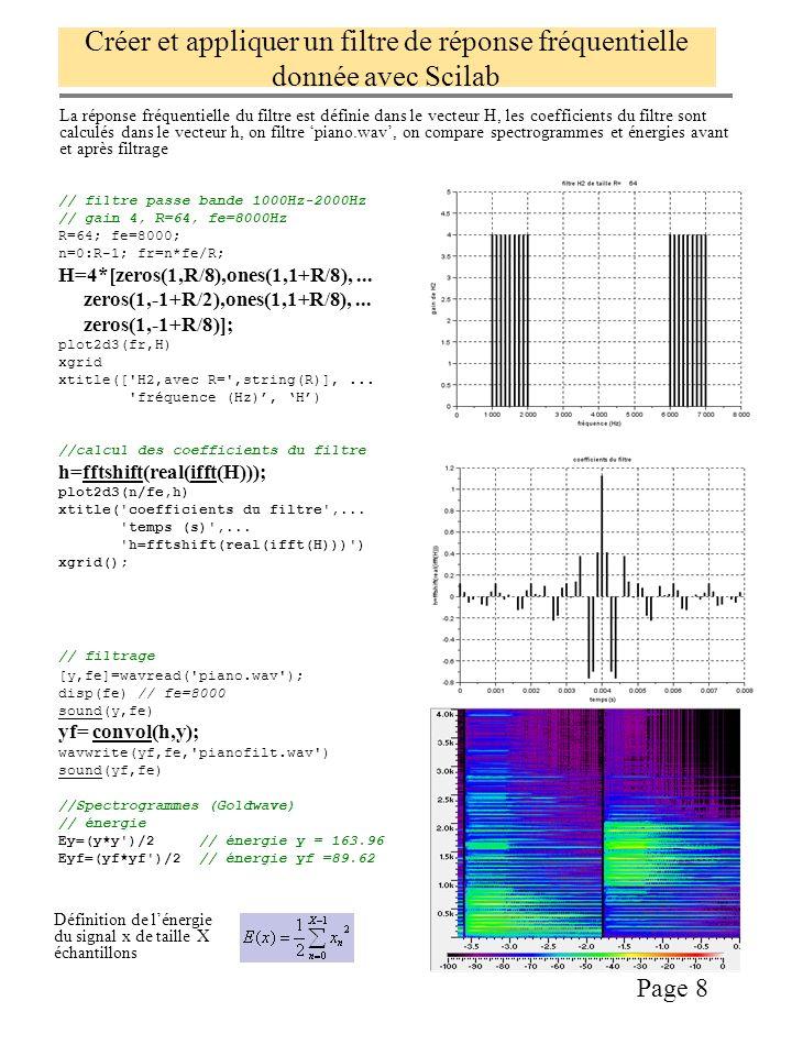 Créer et appliquer un filtre de réponse fréquentielle donnée avec Scilab