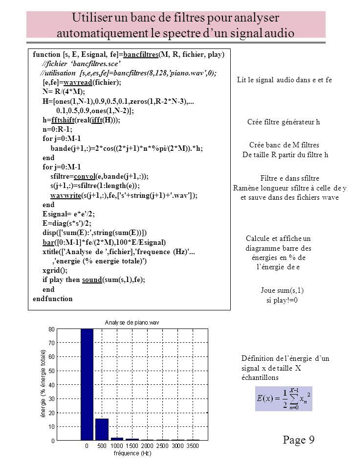 Utiliser un banc de filtres pour analyser automatiquement le spectre d'un signal audio