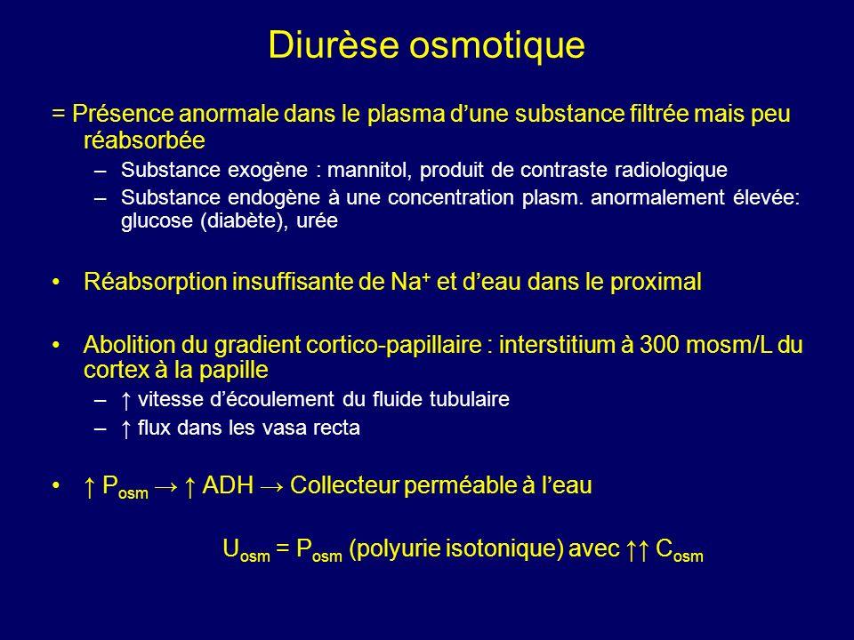 Diurèse osmotique = Présence anormale dans le plasma d'une substance filtrée mais peu réabsorbée.