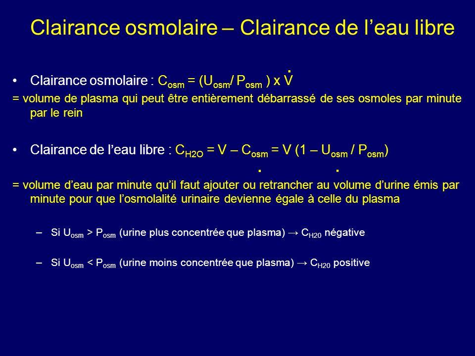 Clairance osmolaire – Clairance de l'eau libre