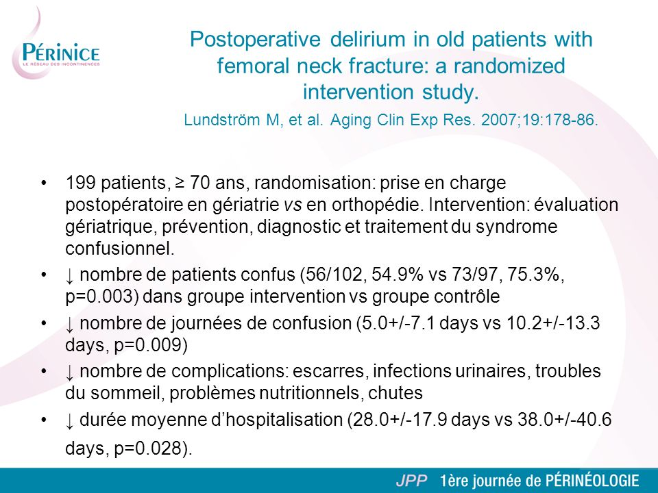 Postoperative delirium in old patients with femoral neck fracture: a randomized intervention study. Lundström M, et al. Aging Clin Exp Res. 2007;19:178-86.