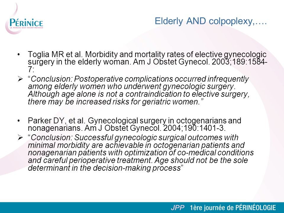 Elderly AND colpoplexy,….