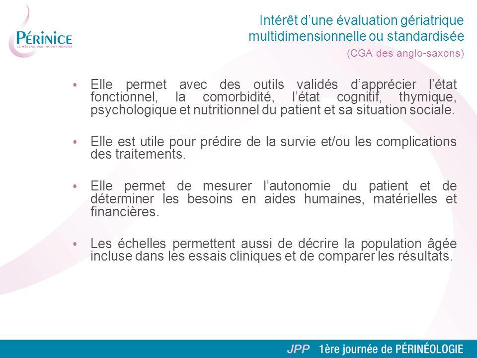 Intérêt d'une évaluation gériatrique multidimensionnelle ou standardisée (CGA des anglo-saxons)