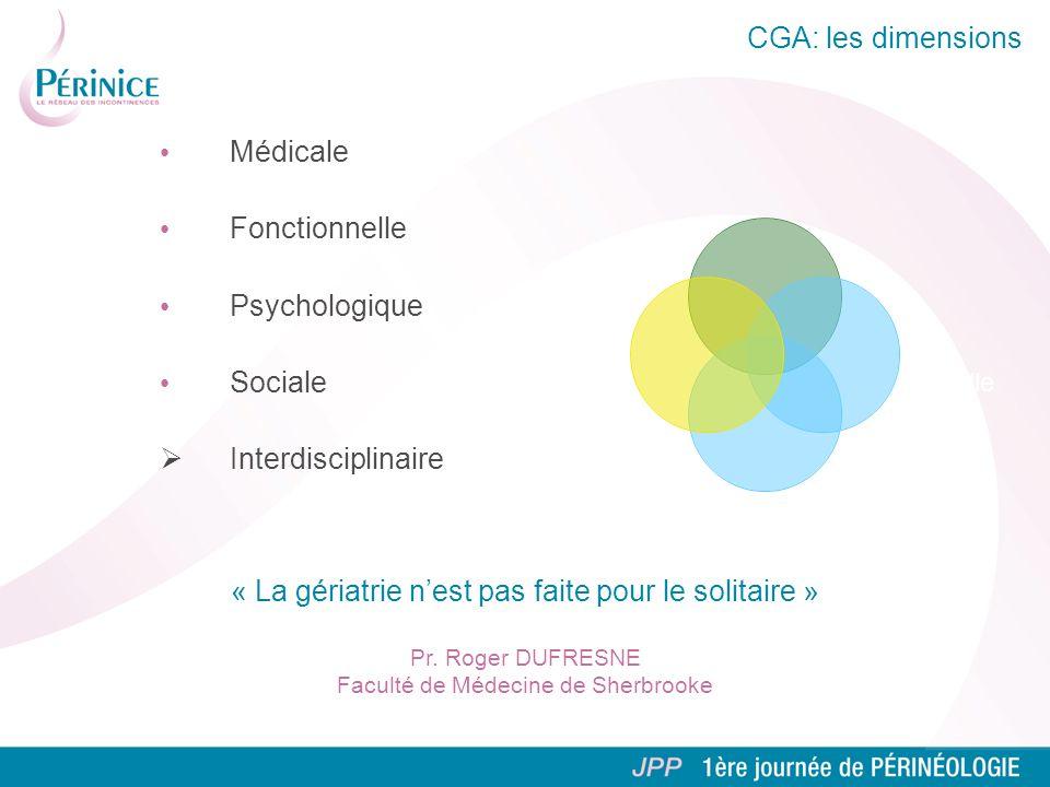 CGA: les dimensions Médicale Fonctionnelle Psychologique Sociale