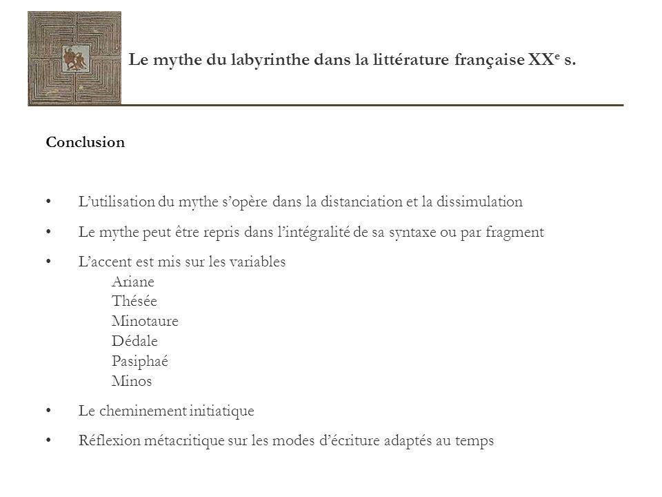 Le mythe du labyrinthe dans la littérature française XXe s.