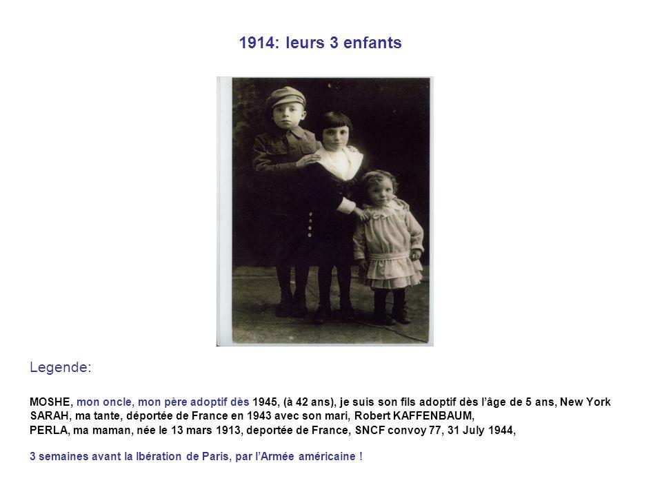 1914: leurs 3 enfants Legende: