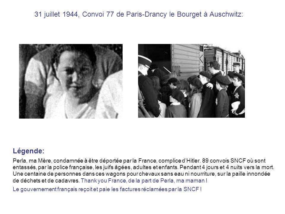 31 juillet 1944, Convoi 77 de Paris-Drancy le Bourget à Auschwitz: