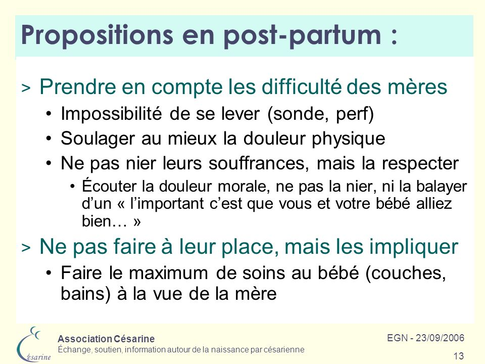Propositions en post-partum :