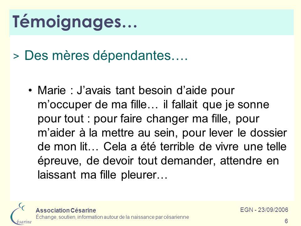 Témoignages… Des mères dépendantes….