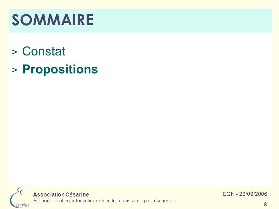 SOMMAIRE Constat Propositions EGN - 23/09/2006