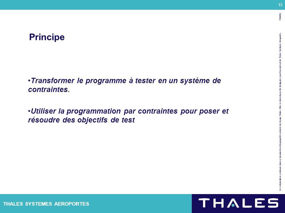 Principe Transformer le programme à tester en un système de contraintes.