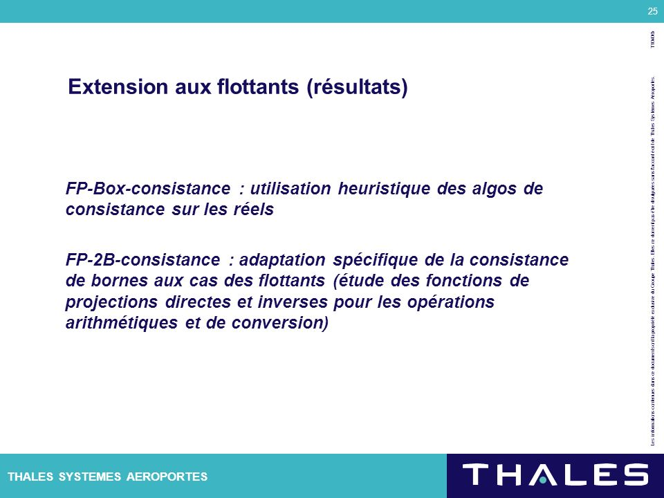 Extension aux flottants (résultats)