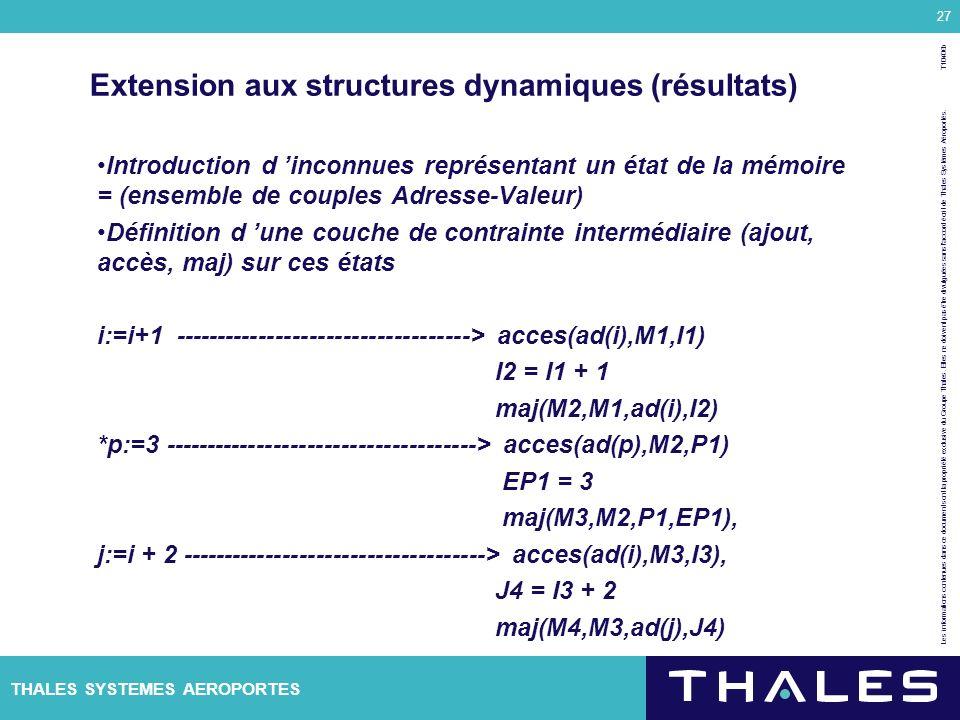 Extension aux structures dynamiques (résultats)