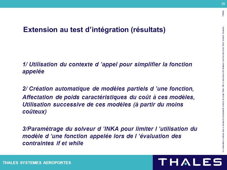 Extension au test d'intégration (résultats)