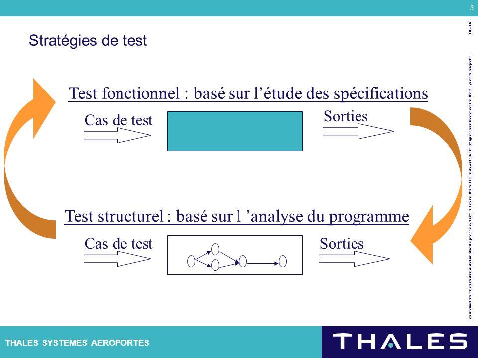 Test fonctionnel : basé sur l'étude des spécifications