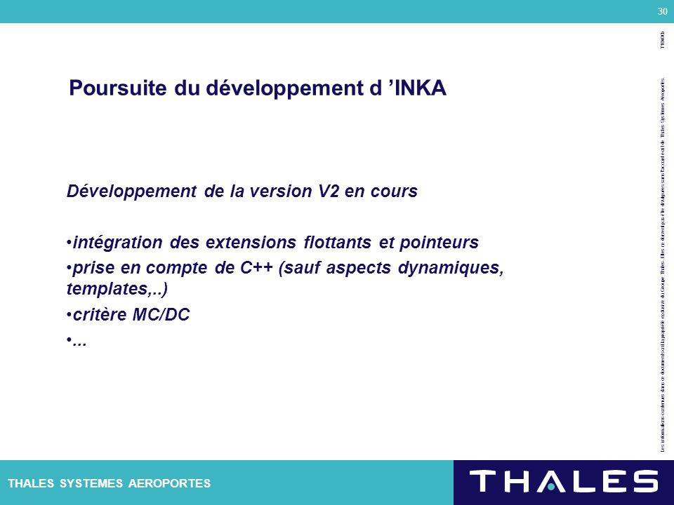 Poursuite du développement d 'INKA