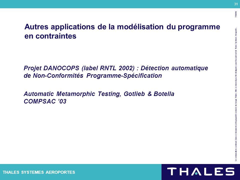 Autres applications de la modélisation du programme en contraintes