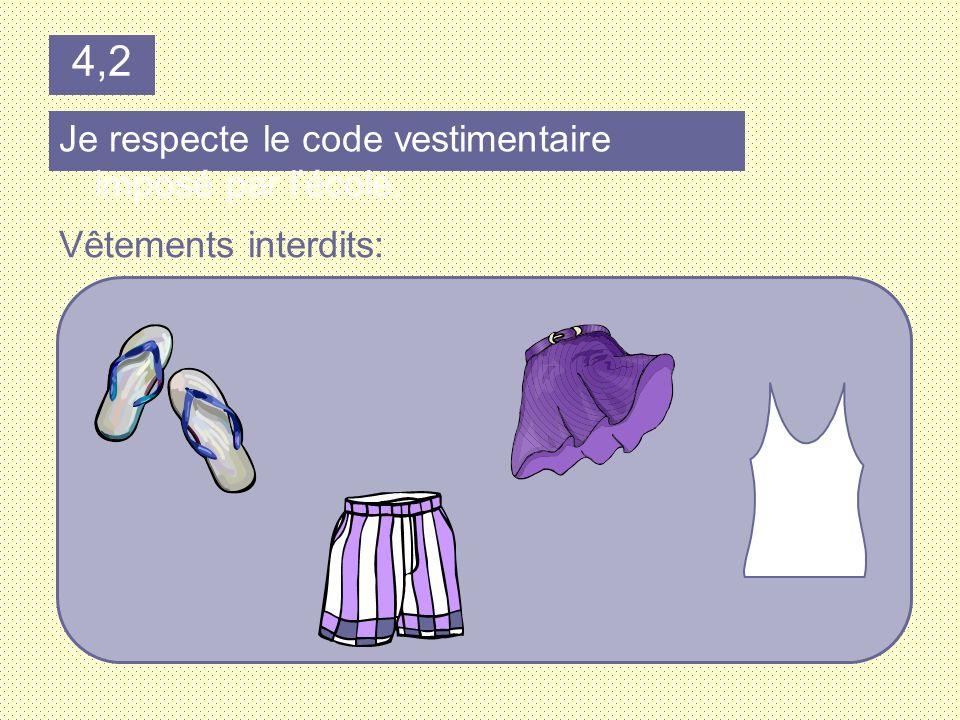 4,2 Je respecte le code vestimentaire imposé par l'école.