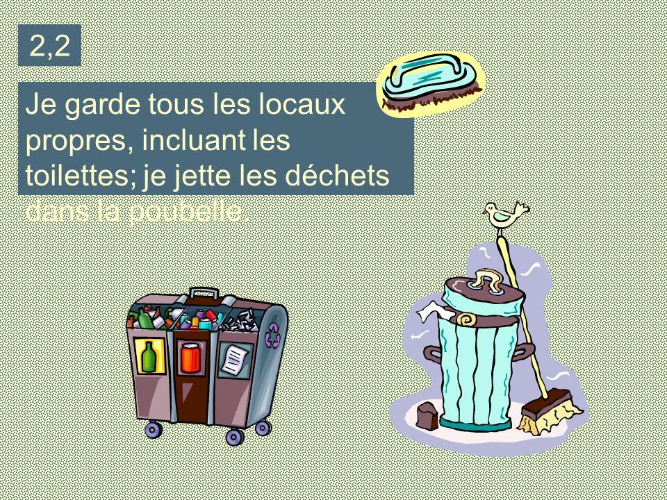 2,2 Je garde tous les locaux propres, incluant les toilettes; je jette les déchets dans la poubelle.