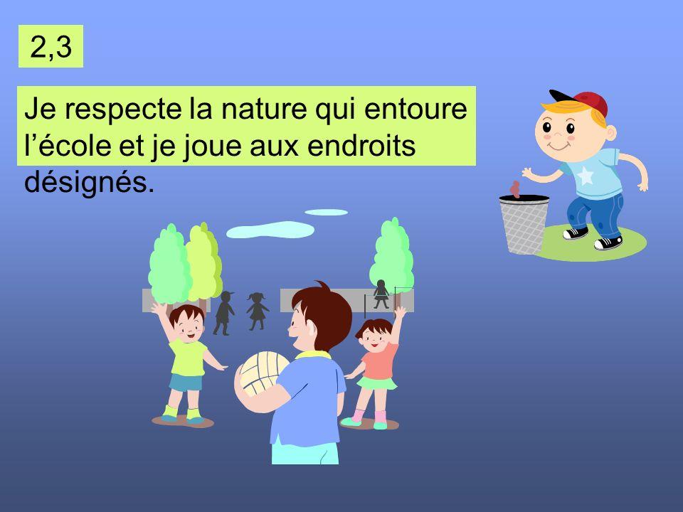 2,3 Je respecte la nature qui entoure l'école et je joue aux endroits désignés.