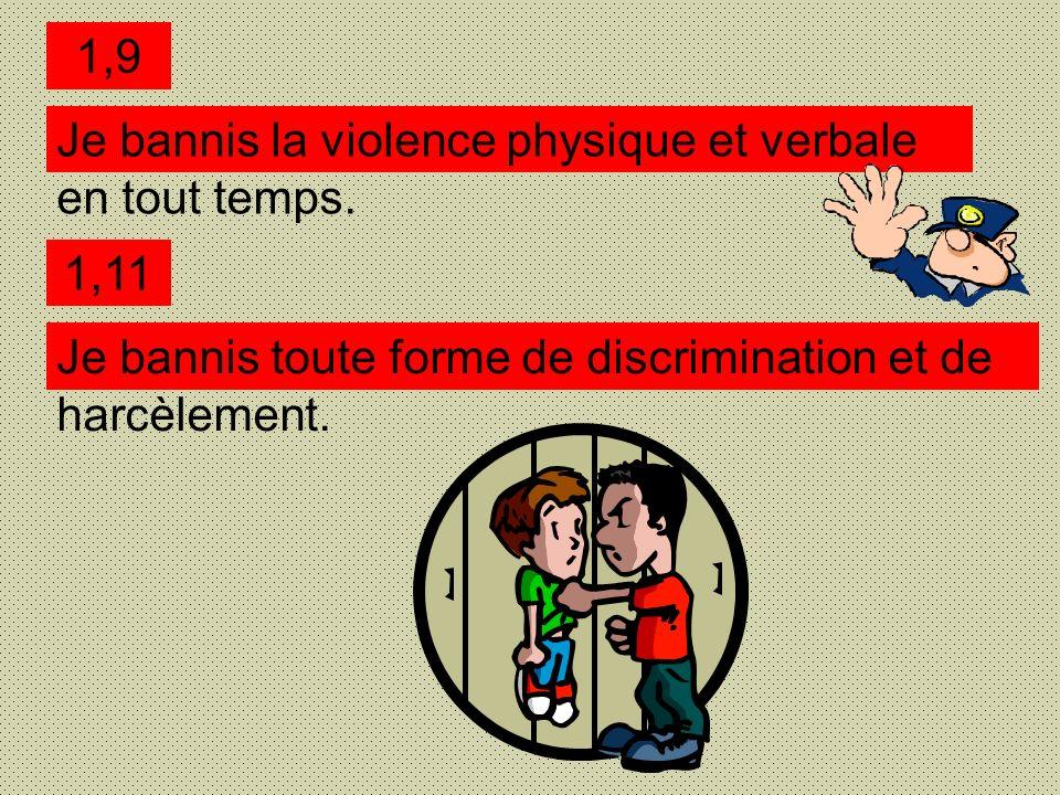 1,9 Je bannis la violence physique et verbale en tout temps.
