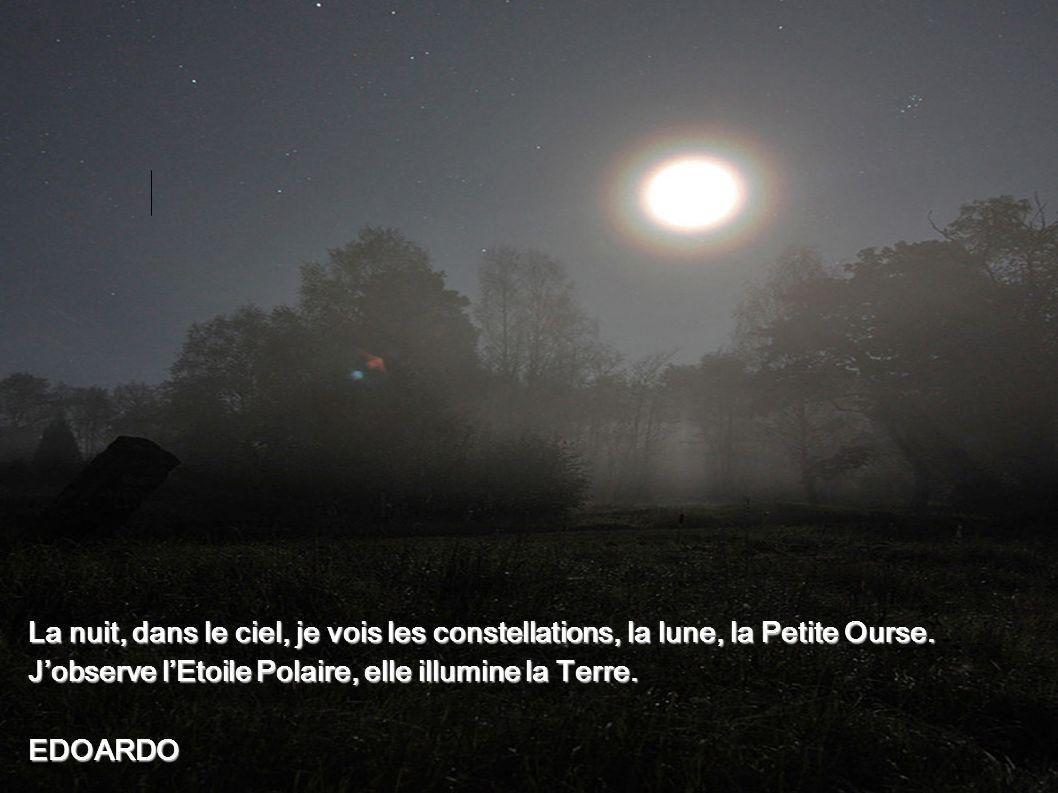 La nuit, dans le ciel, je vois les constellations, la lune, la Petite Ourse. J'observe l'Etoile Polaire, elle illumine la Terre.