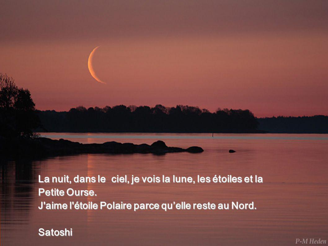La nuit, dans le ciel, je vois la lune, les étoiles et la Petite Ourse.