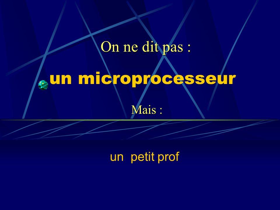 On ne dit pas : un microprocesseur Mais : un petit prof