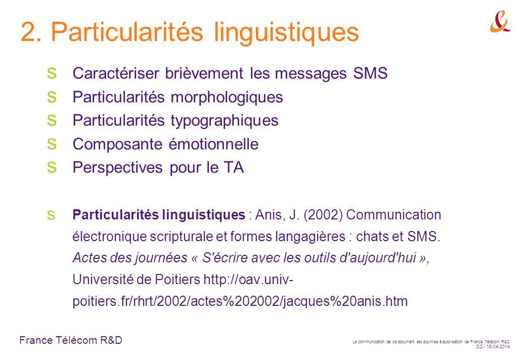 2. Particularités linguistiques