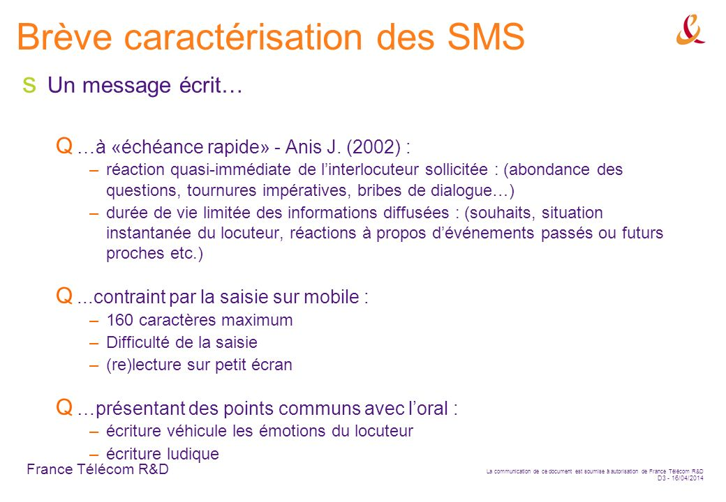 Brève caractérisation des SMS