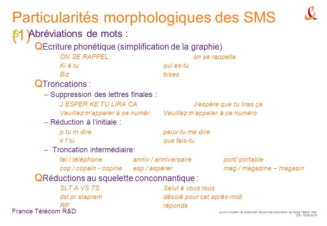 Particularités morphologiques des SMS (1)