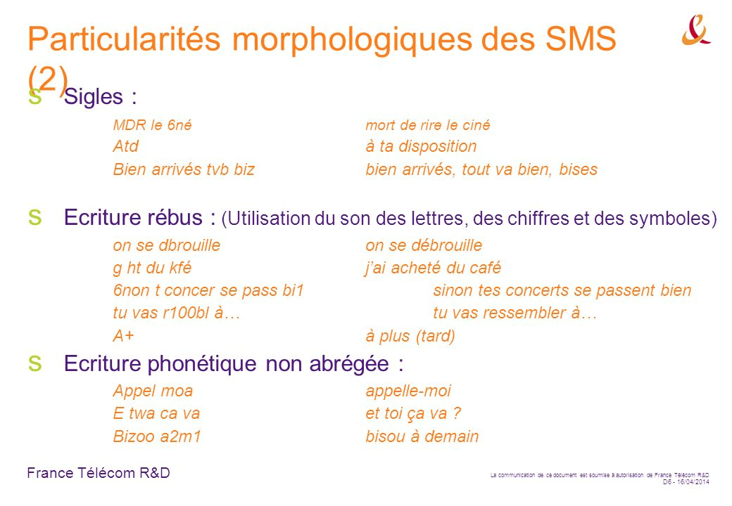 Particularités morphologiques des SMS (2)