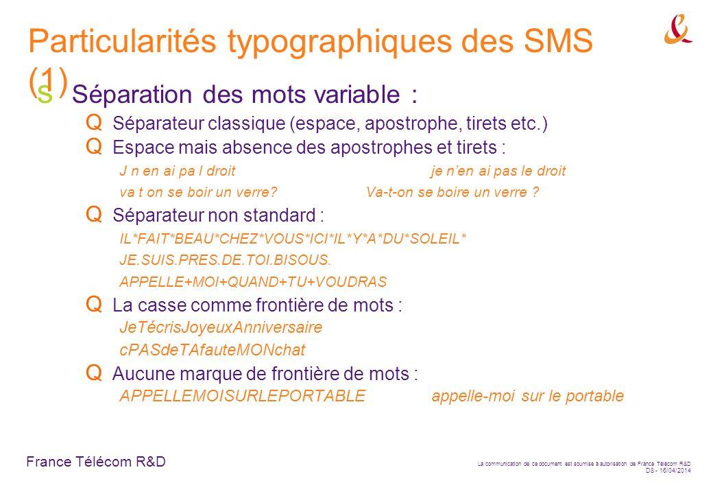 Particularités typographiques des SMS (1)