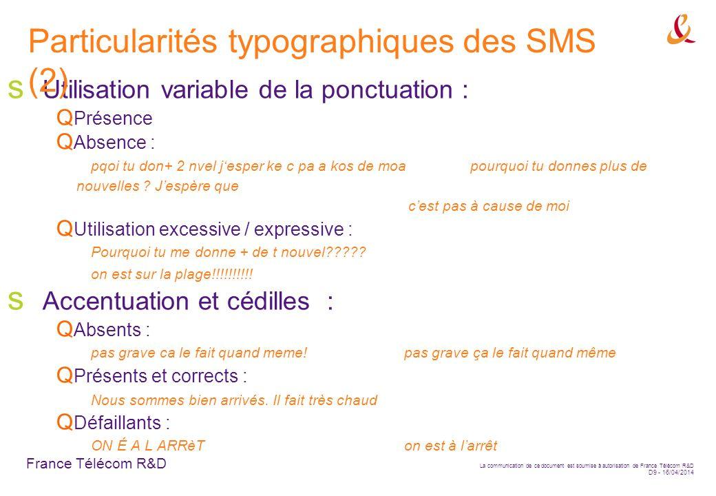 Particularités typographiques des SMS (2)