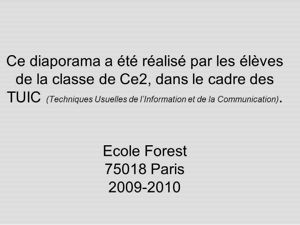Ce diaporama a été réalisé par les élèves de la classe de Ce2, dans le cadre des TUIC (Techniques Usuelles de l'Information et de la Communication).