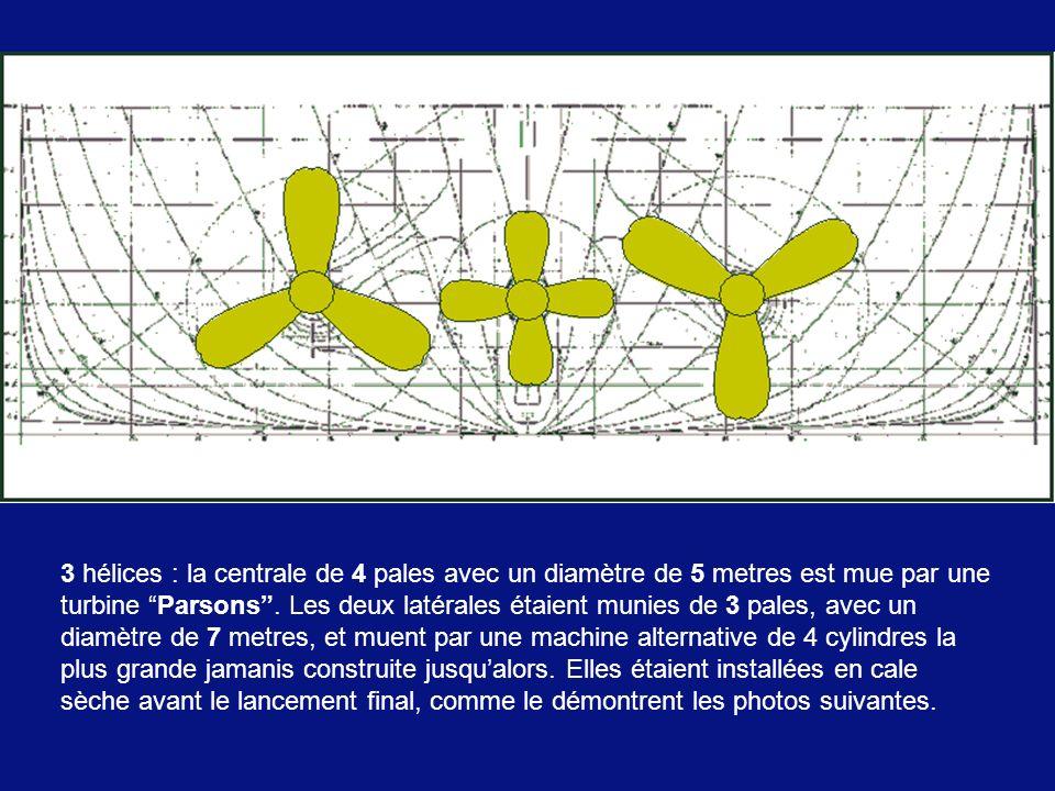 3 hélices : la centrale de 4 pales avec un diamètre de 5 metres est mue par une turbine Parsons .
