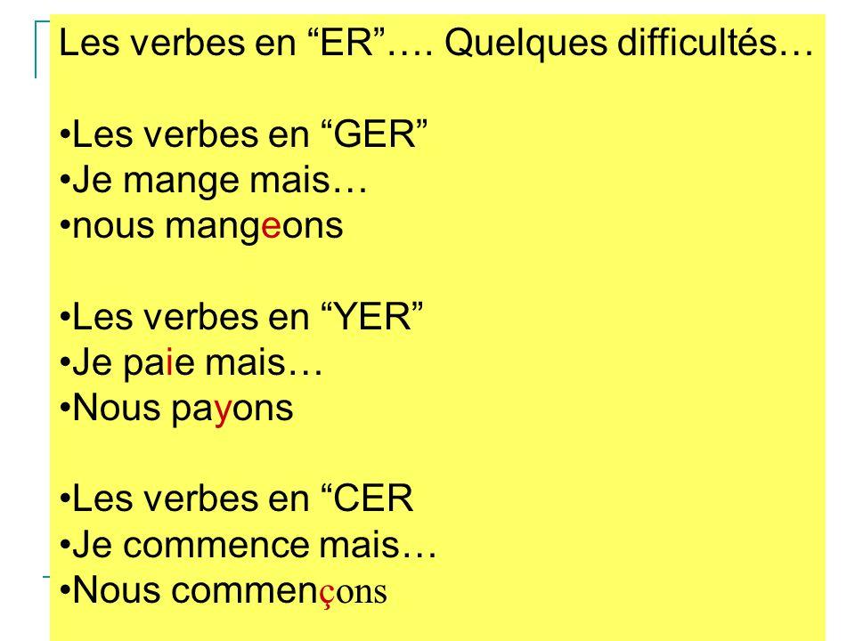 Les verbes en ER …. Quelques difficultés…