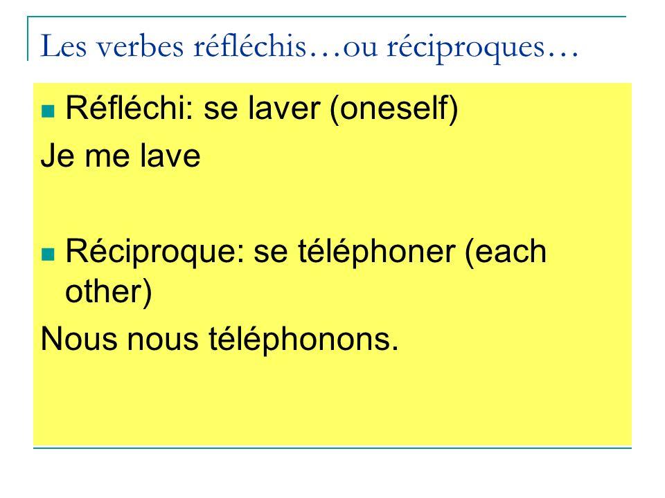 Les verbes réfléchis…ou réciproques…