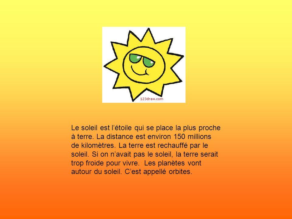 Le soleil est l'étoile qui se place la plus proche à terre