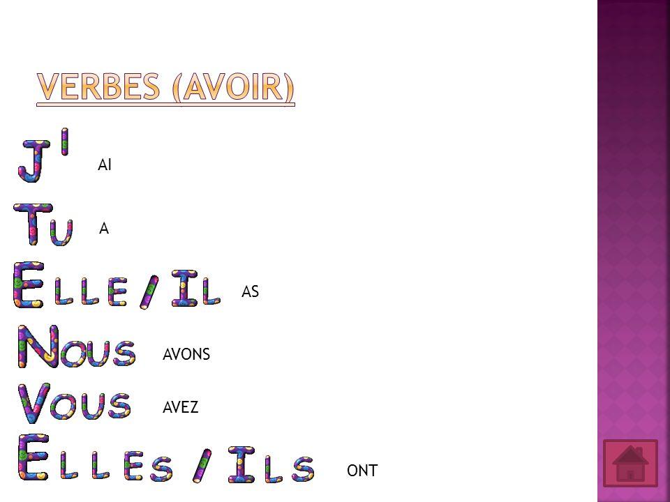 Verbes (Avoir) AI A AS AVONS AVEZ ONT