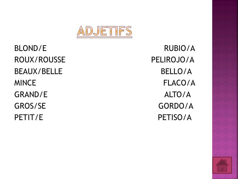 Adjetifs BLOND/E RUBIO/A ROUX/ROUSSE PELIROJO/A BEAUX/BELLE BELLO/A MINCE FLACO/A GRAND/E ALTO/A GROS/SE GORDO/A PETIT/E PETISO/A