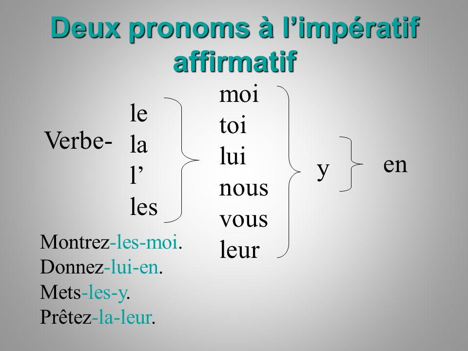 Deux pronoms à l'impératif affirmatif