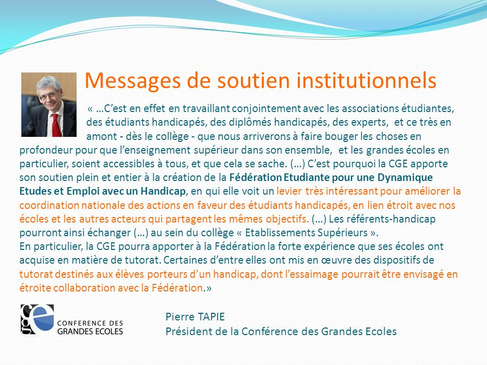 Messages de soutien institutionnels