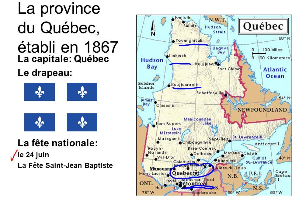 La province du Québec, établi en 1867