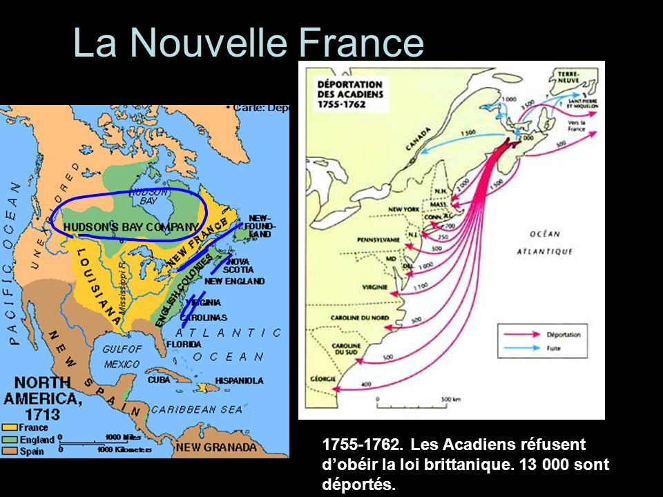 La Nouvelle France • Carte: Déportation, 1755-1763.