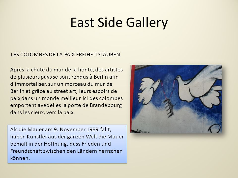 East Side Gallery LES COLOMBES DE LA PAIX FREIHEITSTAUBEN