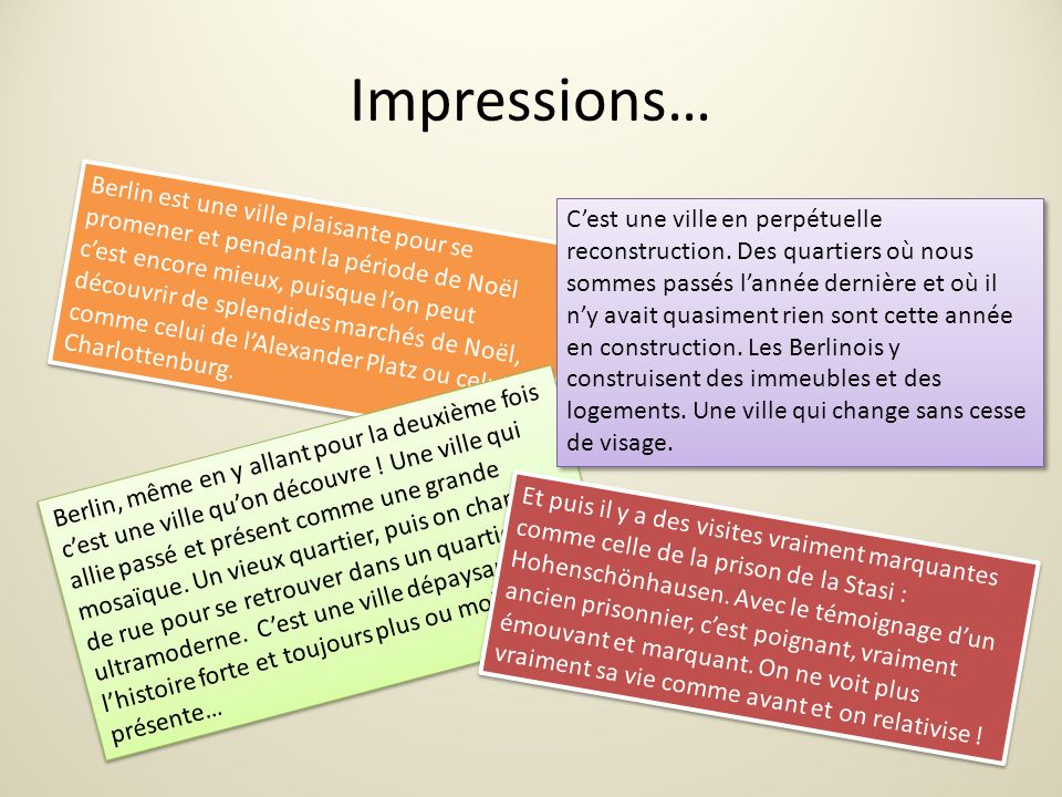 Impressions…