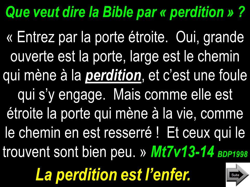 Que veut dire la Bible par « perdition »